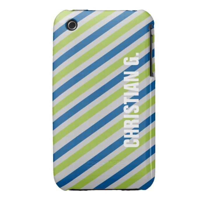 Blue green stripe pattern custom name personal iPhone 3 covers