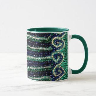 Blue Green Stripe Wave Bead Print mug