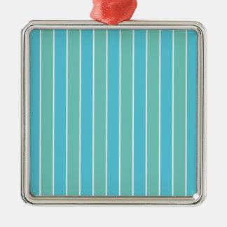 Blue & Green Stripes Silver-Colored Square Decoration
