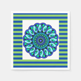 Blue Green Stripped Geometric Cocktail Napkin Paper Napkin