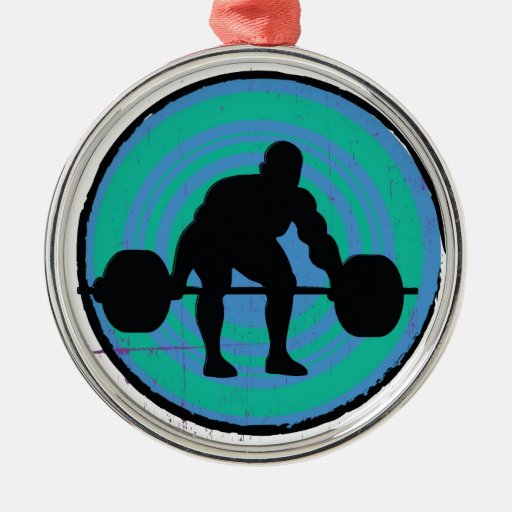 Blue green strong man weightlifter christmas ornaments