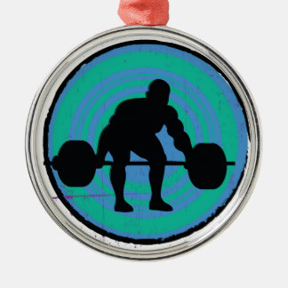 Blue green strong man weightlifter Silver-Colored round decoration