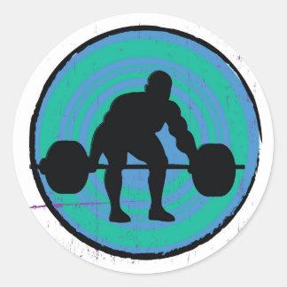 Blue green strong man weightlifter stickers
