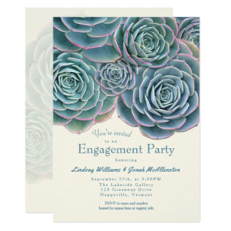 Blue Green Succulent Engagement Party Invitation