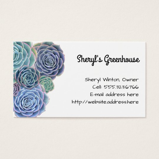 Blue Green Succulents Custom Template Business Card