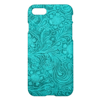 Blue-Green Suede Leather Look Retro Floral Design iPhone 7 Case