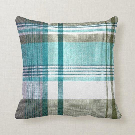 Blue Green Tartan Plaid Pillow