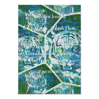 Blue Green Tiger Collage 9 Cm X 13 Cm Invitation Card