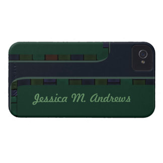 Blue Green Tile Border iPhone 4 Cover
