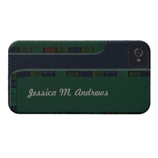 Blue Green Tile Border iPhone 4 Case-Mate Case