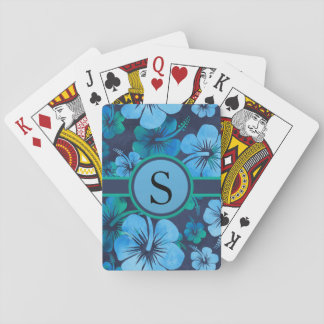 Blue Green Tropical Floral Monogram Playing Cards