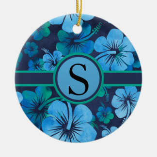 Blue Green Tropical Hibiscus Floral Monogram Christmas Ornament