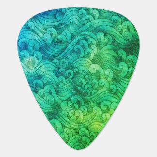 Blue Green Tsunami Ocean Tidal Waves WaterColor Guitar Pick