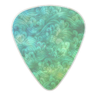 Blue Green Tsunami Ocean Tidal Waves WaterColor Pearl Celluloid Guitar Pick