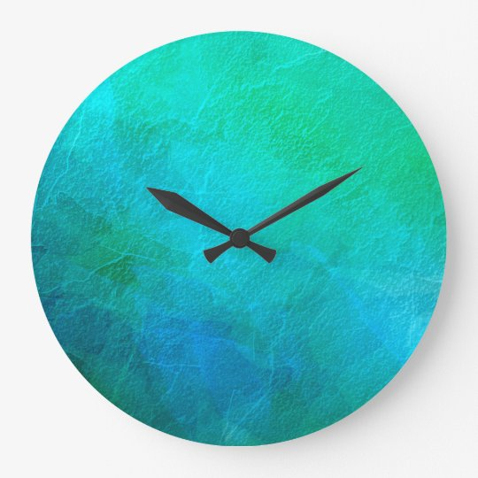 Blue Green Turquoise Abstract Background Art Large Clock