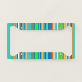 Blue Green Turquoise Stripes License Plate Frame