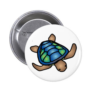 Blue Green Turtle Button