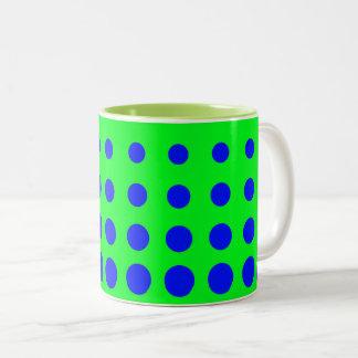 Blue & Green Vector abstract dot Two-Tone Coffee Mug