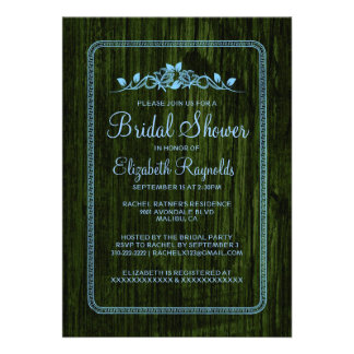 Blue Green Vintage Barn Wood Bridal Shower Invites Custom Announcement
