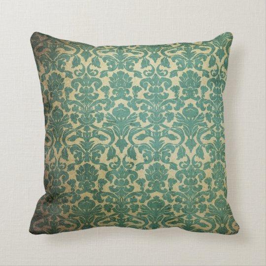 Blue green vintage damask cushion