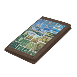 Blue Green Wallet, Abstract Landscape, Stamp Art Trifold Wallet