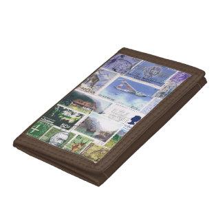 Blue Green Wallet, Abstract Landscape, Travel Art Tri-fold Wallets