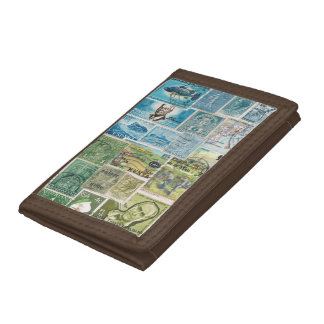 Blue Green Wallet, Countryside Landscape Stamp Art Tri-fold Wallets