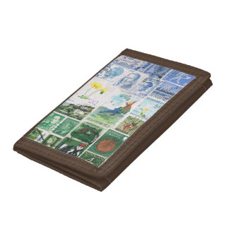 Blue Green Wallet, Parachute Landscape, Stamp Art Tri-fold Wallets