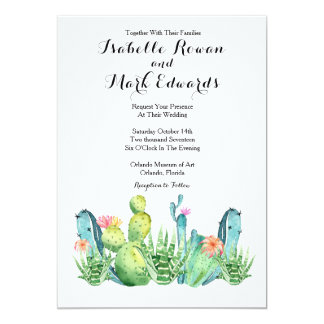 Blue Green Watercolor Cactus Wedding Invitation