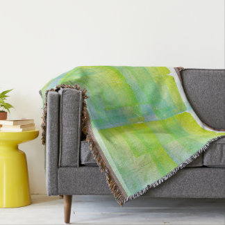 Blue Green Watercolor Silk Screen Print Pattern Throw Blanket