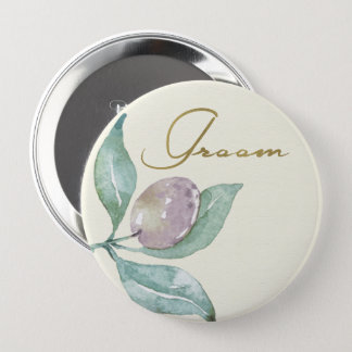BLUE GREEN WATERCOLOUR FOLIAGE OLIVE GROOM 10 CM ROUND BADGE