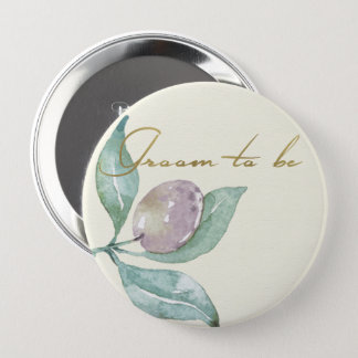 BLUE GREEN WATERCOLOUR FOLIAGE OLIVE GROOM TO BE 10 CM ROUND BADGE