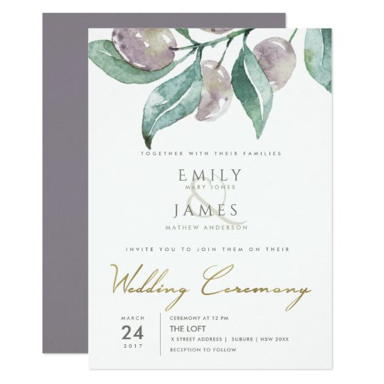 BLUE GREEN WATERCOLOUR FOLIAGE OLIVE WEDDING CARD