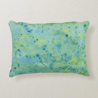 Blue & Green Watercolour Splat Decorative Cushion