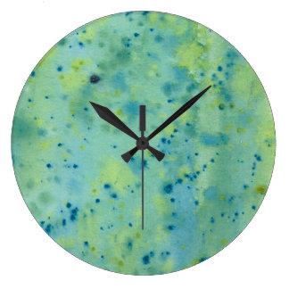 Blue & Green Watercolour Splat Large Clock