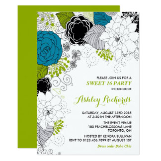 Blue & Green Whimsical Florals Sweet Sixteen Party 13 Cm X 18 Cm Invitation Card