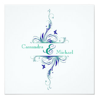 Blue Green White Aqua Floral Wedding Invitation