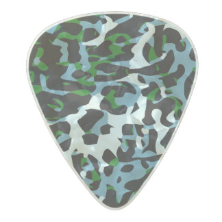 Blue Green White Cheetah Abstract Pearl Celluloid Guitar Pick