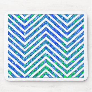 Blue Green White Chevron Zig Zag Pattern Mousepads