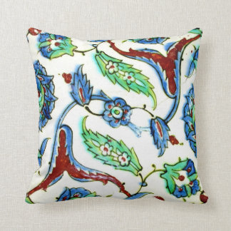 Blue green white floral Ottoman era tile design Cushion