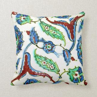 Blue green white floral Ottoman era tile design Throw Pillow