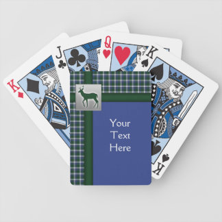 Blue, Green, White Plaid with Deer Playing Cards
