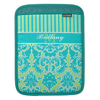 Blue, Green, White Striped Damask iPad Sleeve