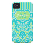Blue, Green, White Striped Damask iPhone 4