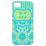 Blue, Green, White Striped Damask iPhone 5