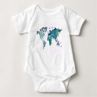 Blue Green World Map Baby Bodysuit