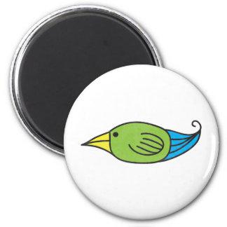 Blue, Green, Yellow Bird 6 Cm Round Magnet