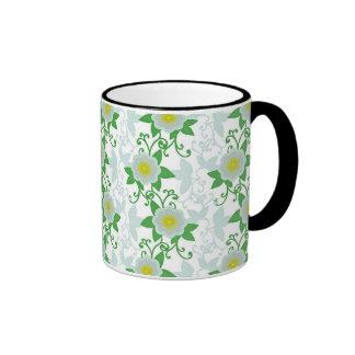 Blue green yellow flowering vine mugs