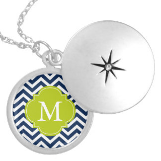 Blue & Green Zigzags Pattern Monogram Silver Plated Necklace
