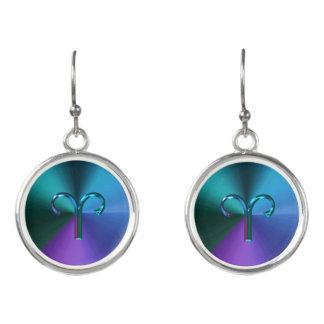 Blue Green Zodiac Sign Aries Astrology Earrings